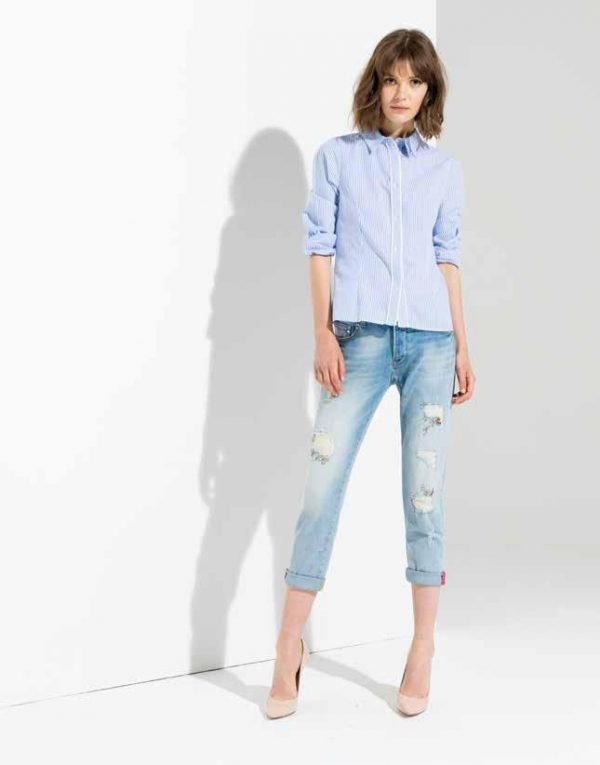 ", Denim jeans FR19SPJCARA1 ""Broken Bleached"" Fracomina Primavera 2019"